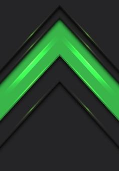 Groene pijl richting snelheid op donker grijze achtergrond.