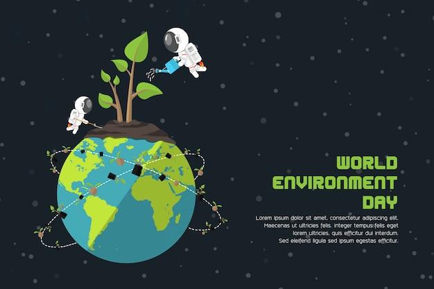 Groene plant op aarde groeit planten door astronauten, wereldmilieudag, broeikaseffect en broeikaseffect