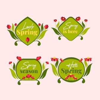 Groene platte design badges met voorjaarscollectie
