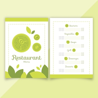 Groene platte restaurant menusjabloon