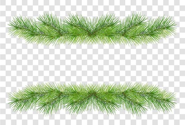 Groene pluizige pijnboomtakken voor de decoratie van de kerstmisslinger die op transparante achtergrond wordt geïsoleerd. illustratie