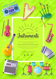 Groene poster met muziekinstrumenten