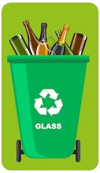 Groene prullenbakken met recycle symbool op groene achtergrond