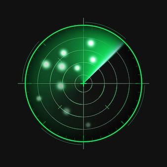 Groene radar op donkere achtergrond. militair zoeksysteem. hud-radarweergave, illustratie