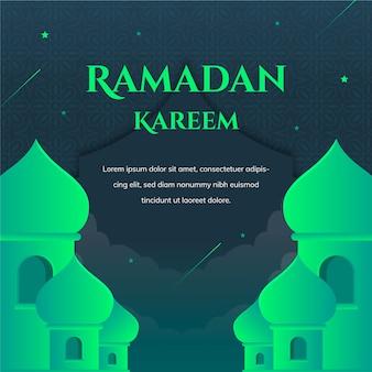 Groene ramadan kareem belettering met moskee