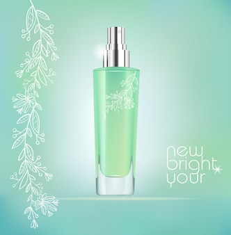 Groene realistische cosmetische fles met bloemmotief. moderne advertentiesjabloon.