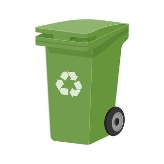 Groene recycle afvalbak platte vectorillustratie