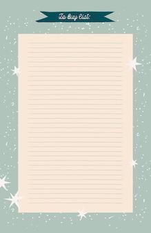 Groene retro afdrukbare planner, organisator. handgetekende winterversierde notities, to-do en to-buy-lijst.