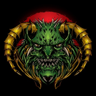 Groene satankop met gouden hoorn