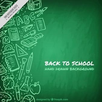 Groene schoolbord achtergrond met tekeningen