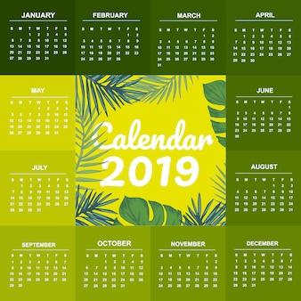 Groene sjabloon kalender 2019 thema