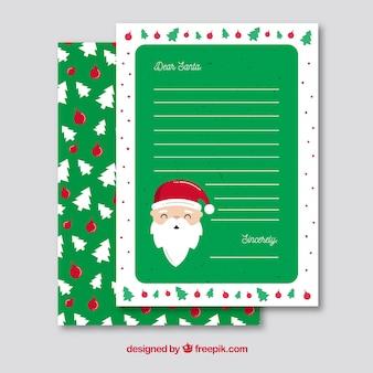Groene sjabloon van een kerst brief