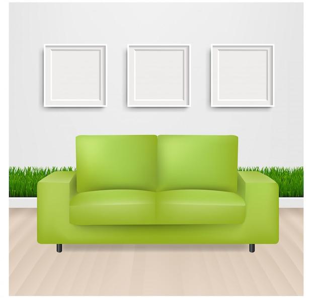 Groene slaapbank met en fotolijst