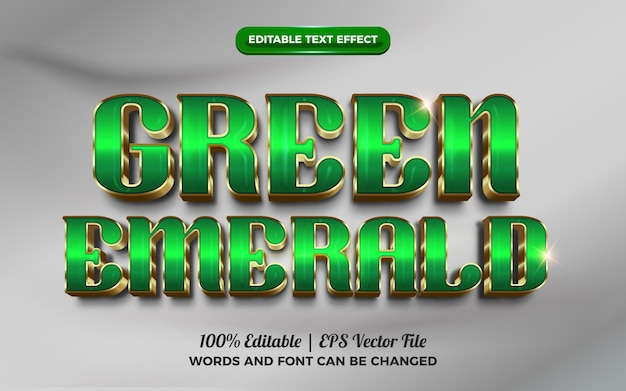 Groene smaragd luxe gouden 3d bewerkbare teksteffect
