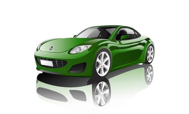 Groene sportwagen die op witte vector wordt geïsoleerd