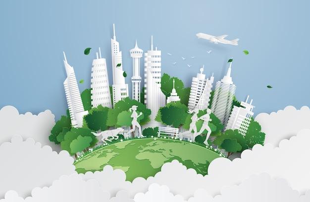 Groene stad aan de hemel.