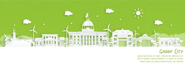 Groene stad alabama, verenigde staten van amerika. milieu- en ecologieconcept in papierstijl.