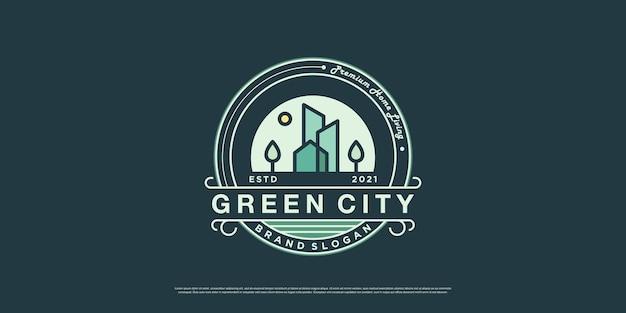 Groene stad logo illustratie voor onroerend goed bedrijf premium vector