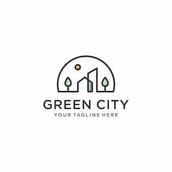 Groene stad logo ontwerp inspiratie, lijntekeningen, overzicht, eenvoudige, minimalistische premium