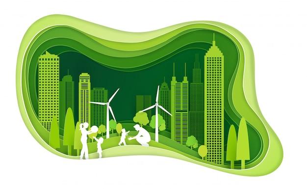 Groene stad met de bouw en ecologieidee met familie