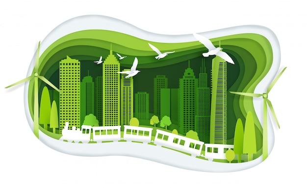 Groene stad met gebouw en ecologie idee