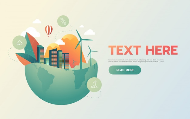 Groene stad met groen eco earth-concept,