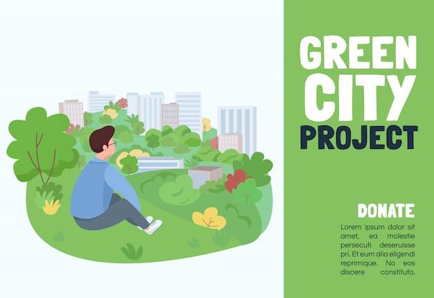 Groene stad projectsjabloon. brochure, poster concept met stripfiguren. stadstuinbouwgebeurtenis, gebouwen die horizontale vlieger modelleren, folder met plaats voor tekst
