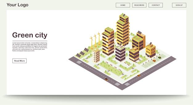 Groene stad webpagina sjabloon met isometrische illustratie