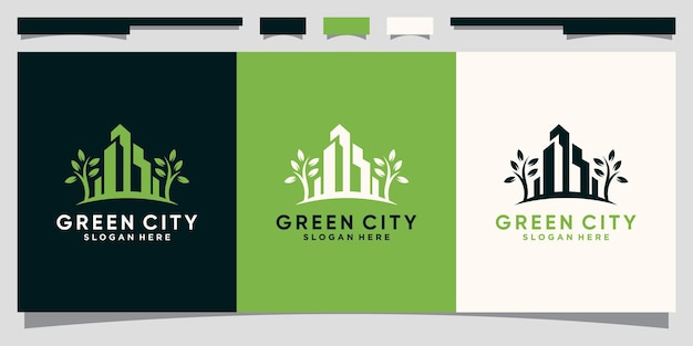 Groene stadslogo-ontwerpinspiratie voor stadsconstructie met modern concept premium vector