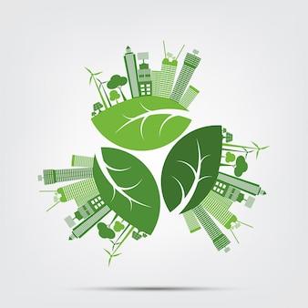 Groene steden helpen de wereld met milieuvriendelijke conceptideeën. vectorillustratie