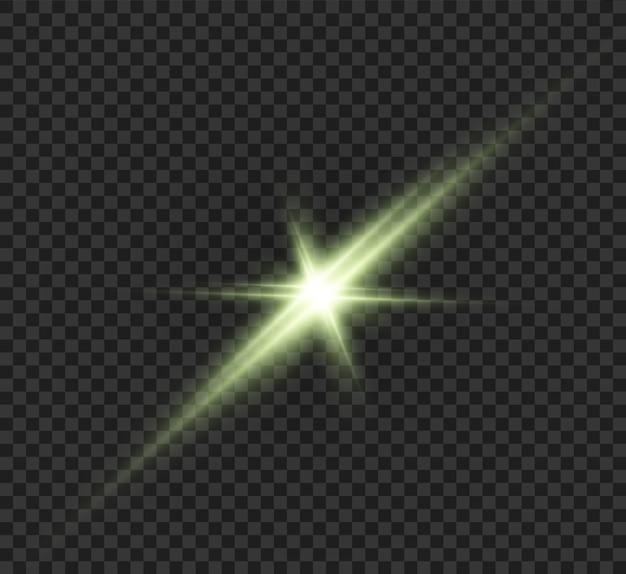Groene ster, mooie stralen, abstractie.