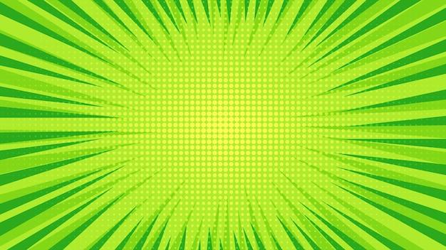 Groene stripboekpagina-achtergrond in pop-artstijl met lege ruimte. sjabloon met stralen, stippen en halftone effect textuur. vector illustratie