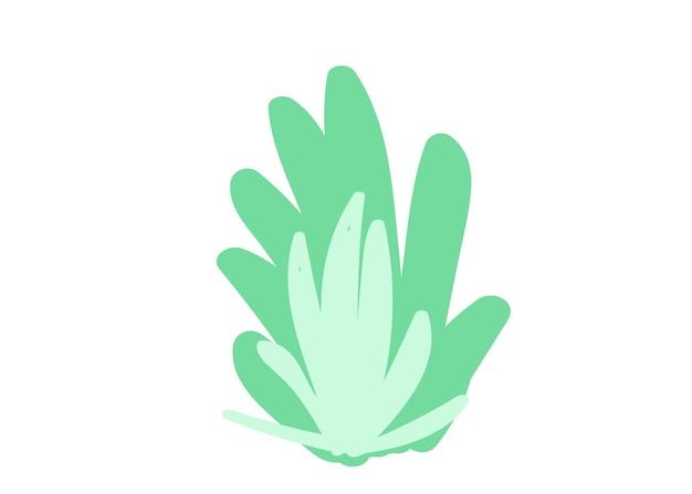 Groene struik hand tekenen cartoon vlakke stijl vector illustratie enkel element geïsoleerd