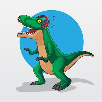 Groene t-rex dinosaurus karakter luisteren muziek met hoofdtelefoon vectorillustratie