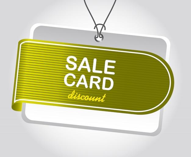 Groene tag over zilveren achtergrond verkoop kaart