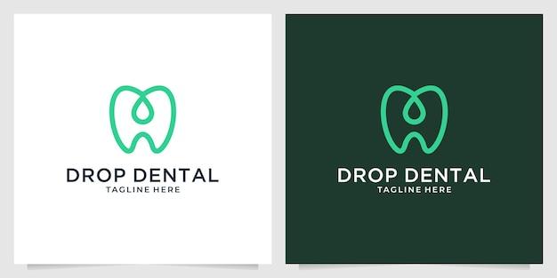 Groene tand met druppellogo-ontwerp