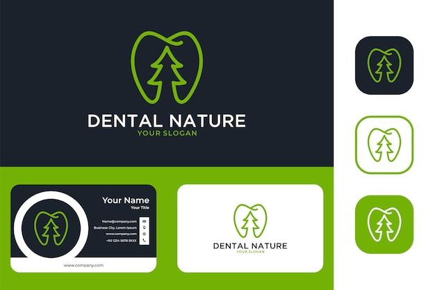 Groene tandheelkundige natuur lijntekeningen logo ontwerp en visitekaartje