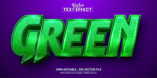 Groene tekst, bewerkbaar teksteffect in cartoonstijl