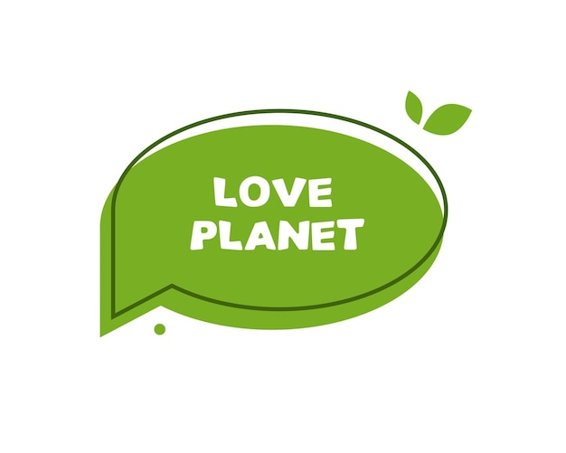 Groene tekstballon liefde planeet
