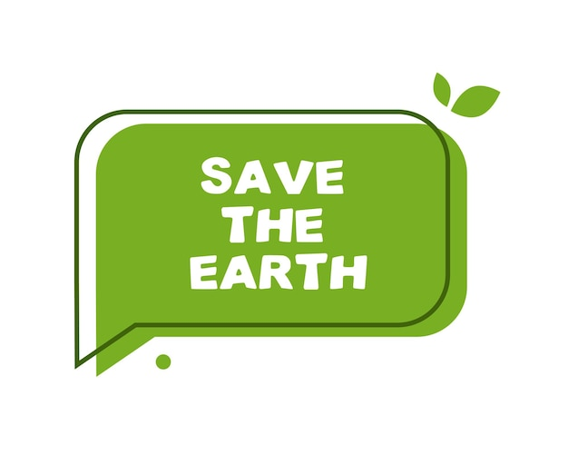 Groene tekstballon red de aarde