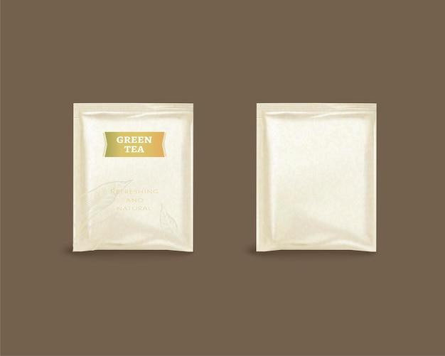 Groene thee folie pakketontwerp in 3d illustratie op bruin oppervlak
