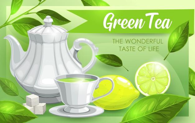 Groene thee, limoen en bladeren, theepot en kopje