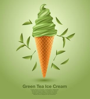 Groene thee sundae zacht serveer