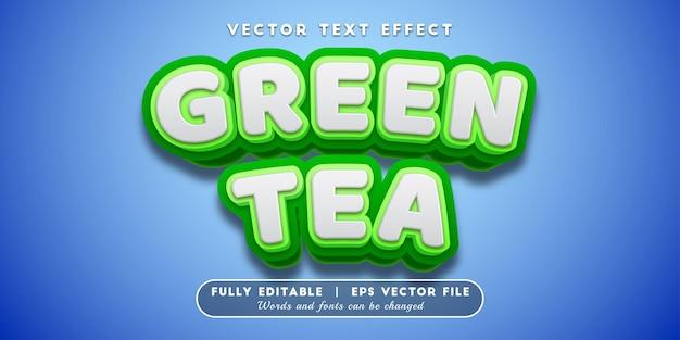 Groene thee-teksteffect, bewerkbare tekststijl