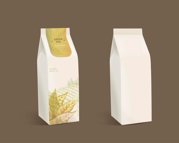 Groene theeblaadjes pakketontwerp met blanco papieren zak in 3d illustratie