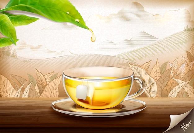 Groene theezakjes advertenties met 3d illustratie glazen kopje thee op gegraveerd plantage oppervlak