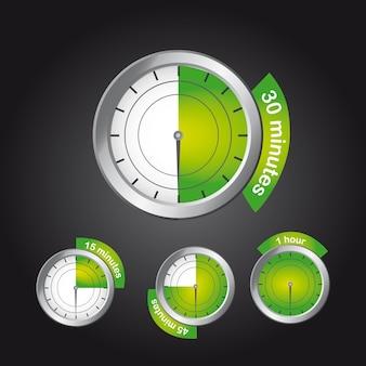 Groene timer klok over zwarte achtergrond vectorillustratie