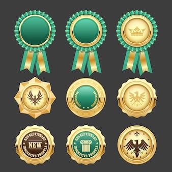 Groene toekenningsrozetten en gouden medailles - prijsinsignes