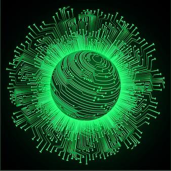 Groene toekomstige de technologieachtergrond van de wereld cyber kring