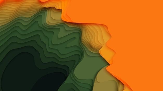Groene tot oranje papierlagen